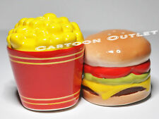 HAMBURGER AND FRIES SALT AND PEPPER SHAKERS CERAMIC COLLECTIBLE MAGNETIC  GIFT