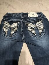 Miss Me Angel Wing Crystal Mid Rise Cuffed Capri Jeans sz 26. Style No: MP6377P