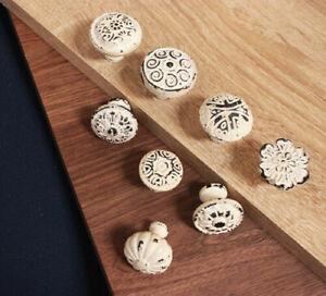 White Cast Iron Cupboard Knob Chest Drawer Round Handle Wardrobe Cabinet Pull