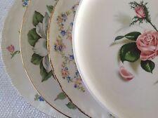 """Set 4 Vintage Mismatched China Dinner Plates Pink & Green Florals 10"""""""