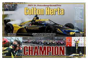 "COLTON HERTA WINS THE 2021 ST. PETE GRAND PRIX 19""x13"" COMMEMORATIVE POSTER"