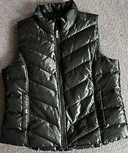 LANDS END Gray Zipper Front Puffer Vest Jacket Womens Size Large 14-16