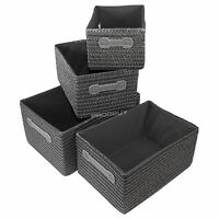 Set of 4 Nesting Storage Baskets 38cm Woven Canvas Fabric Boxes Hampers Chests