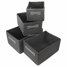Set of 4 Mixed Nesting Woven Canvas Fabric Storage Chests Baskets Boxes Hampers