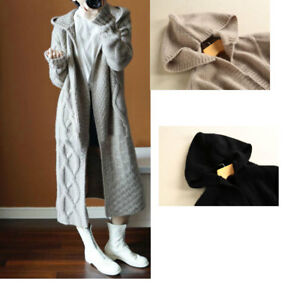 Womens knitted cardigan overcoat long hooded sweater thicken coat winter warm