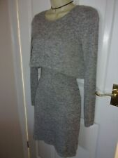 GORGEOUS NEW LOOK GREY OVERLAY JERSEY WIGGLE DRESS s10