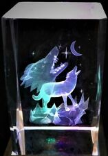 WOLVES HOWLING AT THE MOON 3D CRYSTAL Laser+4 LED LIGHT BASE NEW GIFT BOXED WOLF