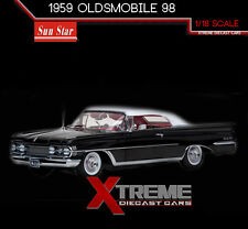 "SUNSTAR SS-5234 1:18 1959 OLDSMOBILE ""98"" CLOSED CONV. BLACK PLATINUM EDITION"