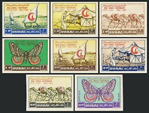 Dubai 18-21,C9-C12 imperf,MNH Mi 26B-33B. Red Cross,1963.Dhows,Camels,Butterfly