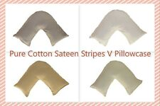 V Shaped Pillowcase Sateen Stripes 100% Egyptian Cotton (Pregnancy/Orthopaedic)