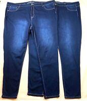 Lane Bryant Skinny Stretch Jeans Womens Size 28 Long Dark 2 Pairs Soft Light