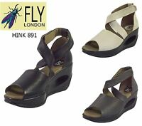 Fly London Ladies Hole Hink 891 Luxury Mousse Leather Strap Summer Sandals