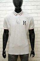 Polo Uomo TOMMY HILFIGER Taglia XL Maglia Grigio Manica Corta Hemd Shirt Man