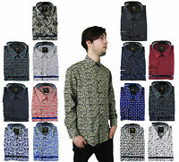 Mens Floral Paisley Shirt Cotton Long Sleeve Classic Vintage S M L XL XXL