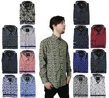 Mens Floral Paisley Shirt Cotton Long Sleeve Classic Vintage S M L XL XXL