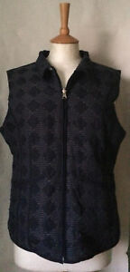 Ladies navy blue and white reversible padded gilet M