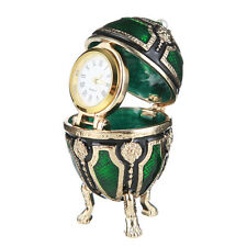 Faberge Egg Trinket Jewel Box Russian Coat of Arms with clock 2.6' 6.5cm green