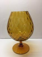 Mid Century Modern Empoli Murano Amber Vase Italian Hand Blown Art Glass