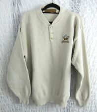 Browning Mens Henley Style Knit Sweater Size Medium 100% Cotton Embroidered Logo