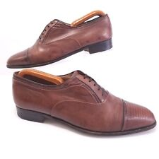 Stemar Kurt Geiger Brown Leather Oxford Slip On Snake Cap Toe 9/ Fits 9.5 Italy