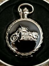 Classic Harley Motorcycle Biker Dude Gift Quartz Pocket Watch Chain Clip New Box