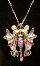 Rare Kirks Folly Serpent Lumina Fairy Necklace Silver Purple Passion Vintage art