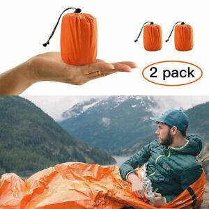 2er-set Notschlafsack thermisch wasserdicht für Outdoor Survival Camping Wandern