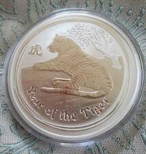 2010 $10 Australia Lunar Year of the Tiger 10 Oz Fine Silver Coin Perth Mint