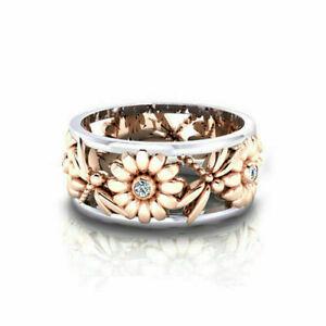 Handmade Women 925 Silver Tricolor Flower Dragonfly Animal Ring Jewelry Sz 6-10
