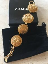 Authentic Vintage Chanel Gold-tone Medallion Bracelet. Great pre-owned condition