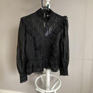 RIVER ISLAND Black Lace Long Sleeve Blouse Berlin Doll Size 12 ##bel