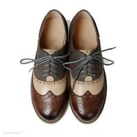 Retro Womens Leather Flat Low Heels Oxfords Brogues Wingtip Lace Up Dress Shoes
