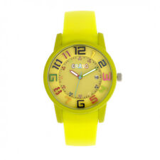 Crayo Festival Yellow Silicone Band Unisex Watch with Date CR2002