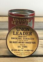 Antique Union Leader Smoking Tobacco Humidor Tin EST. 1750