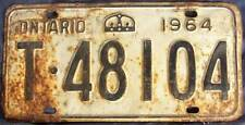 1964 ONTARIO CANADA License Plate T-48104