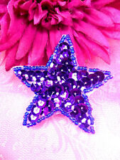 JB73 Purple Star Beaded Sequin Applique Iron on Patch Hot Fix Petite 2.5""