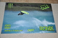 "RONIX ONE DANNY HARF GREEN BANNER 48"" * 32"" 2  Ronix Wakeboard Stickers Decal"