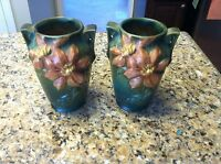 2 Roseville USA 105-7 Clematis green pink yellow double handle pottery vase lot
