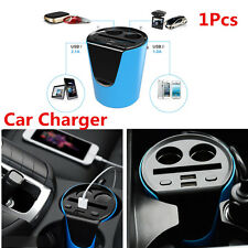 Car Cup Holder Charger With 2 Cigarette Lighter Socket Stand Card Slot Function