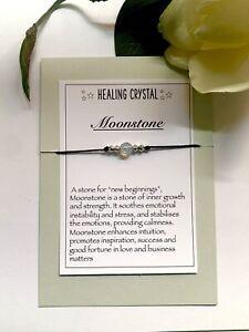 Moonstone Gemstone bracelet Reiki Chakra Anxiety Stress Healing Crystal Gift
