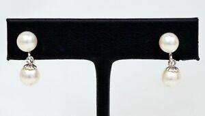 12K White Gold Filled 6.5mm-7mm Akoya Cultured Pearl Earrings Non-Pierced B1158