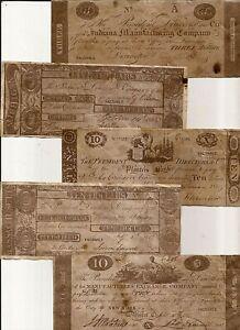 5 REPRODUCTION antiqued U.S. CWAR of 1812 era Notes paper money bills
