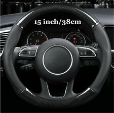 15'' Universal Leather Stitching Carbon Fiber Car Steering Wheel Cover Anti-Slip