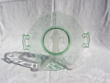 Vint Green Dep. Flower & Leaf Etched Uranium Vaseline Glass 2-Handled Cake Plate