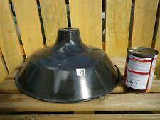 LARGE Vintage French Metal Industrial pendant light shade black, retro, loft.19