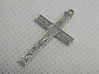 VINTAGE/ANTIQUE STERLING SILVER ETCHED PATTERN CROSS PENDANT. MAKERS AJH.  (NCB)