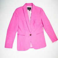 NEW J. Crew Parke stretch Linen One Button Solid Pink Blazer Jacket 2 Petite