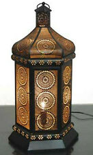 "Moroccan Style Floral Cut Out Lantern Table Lamp New 21.5"" Black & Gold"