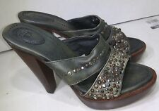 Frye Pums Brown Leather Green Studded Open Toe Platform Womens Size 8 B