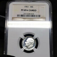 1961 PF69* STAR Cameo Roosevelt Dime 10c Proof, NGC Graded PR69 CAM